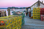 Central coast, Maine: Lobster traps and weathered shed in the fishing village of Friendship