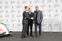 Carlo Ancelotti and Florentino Perez participates and receives new Audi during the presentation of Real Madrid's new cars made by Audi in Madrid. December 01, 2014. (ALTERPHOTOS/Caro Marin) /Nortephoto
