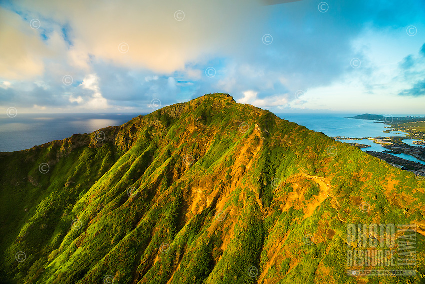 The interior of Koko Crater, with Hawai'i Kai and other Southeast O'ahu communities in the distance.