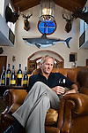 Golfer Greg Norman photographed with his new line of California wines at Medalist Golf Course in Jupiter, Florida
