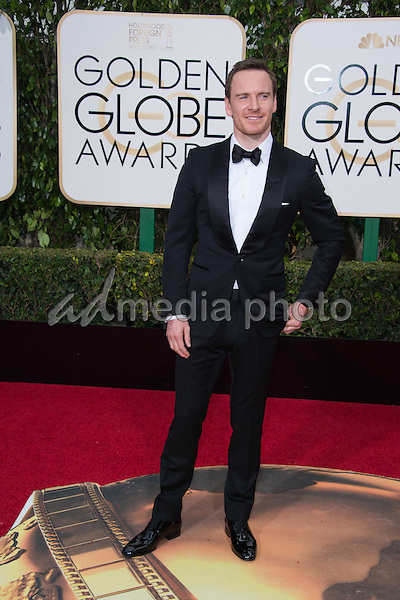 "Michael Fassbender, Golden Globe nominee for BEST PERFORMANCE BY AN ACTOR IN A MOTION PICTURE – DRAMA for his role in ""Steve Jobs,"" arrives at the 73rd Annual Golden Globe Awards at the Beverly Hilton in Beverly Hills, CA on Sunday, January 10, 2016. Photo Credit: HFPA/AdMedia"