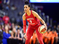 Washington, DC - June 3, 2018: Washington Mystics guard Natasha Cloud (9) brings the ball up court during game between the Washington Mystics and Connecticut Sun at the Capital One Arena in Washington, DC. (Photo by Phil Peters/Media Images International)