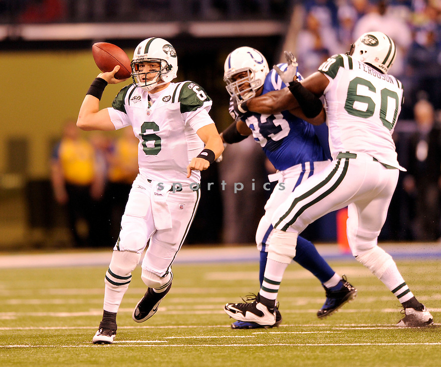 MARK SANCHEZ, of the New York Jets, in action during the Jets game against the Indianapolis Colts on December 27, 2009 in Indianapolis, Indiana. Jets won 29-15.