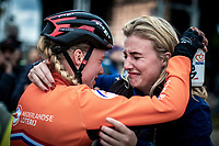 Annemarie Worst (NED) and sister post race emotional. <br /> <br /> Women's Elite Race<br /> UCI 2020 Cyclocross World Championships<br /> Dübendorf / Switzerland<br /> <br /> ©kramon