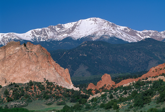 View of snowcapped Pikes Peak from Garden of the Gods, near Colorado Springs, CO