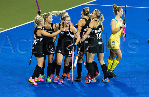 09.04.2016. Hastings, New Zealand.  New Zealand celebrate a goal  from Charlotte Harrison. NZL Black Sticks Women versus  Australia. Semi final, Festival of Hockey, Unison Hockey turf, Hastings, New Zealand. Saturday, 09 April, 2016.