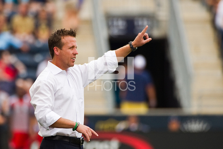 Philadelphia Union interim manager John Hackworth. The Philadelphia Union defeated Toronto FC 3-0 during a Major League Soccer (MLS) match at PPL Park in Chester, PA, on July 8, 2012.