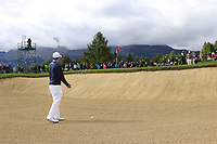 Matthew Fitzpatrick (ENG) in a bunker at the 17th green during Sunday's Final Round of the 2017 Omega European Masters held at Golf Club Crans-Sur-Sierre, Crans Montana, Switzerland. 10th September 2017.<br /> Picture: Eoin Clarke | Golffile<br /> <br /> <br /> All photos usage must carry mandatory copyright credit (&copy; Golffile | Eoin Clarke)