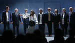 Clive Owen, Donald Holder, Elliot Goldenthal, Julie Taymor, David Henry Hwang, Ma Cong, Jin Ha, Constance Hoffman and Paul Steinberg with the cast during the Broadway Opening Night performance Curtain Call for 'M. Butterfly' on October 26, 2017 at Cort Theater in New York City.