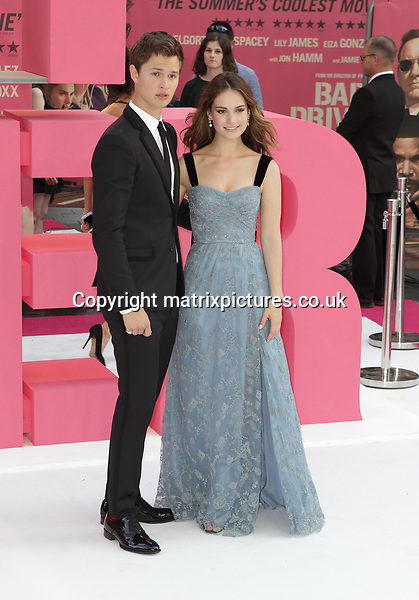 NON EXCLUSIVE PICTURE: MATRIXPICTURES.CO.UK<br /> PLEASE CREDIT ALL USES<br /> <br /> WORLD RIGHTS<br /> <br /> English actress Lily James and American actor Ansel Elgort attend the Baby Driver UK Premiere held at Cineworld Leicester Square in London.<br /> <br /> JUNE 21st 2017<br /> <br /> REF: GBH 171324