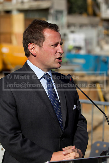 17/09/2012. LONDON, UK. Ed Vaizey, the Minister for Culture, Communications and Creative Industries, is seen at a 'ground breaking' ceremony at the site of the new Design Museum in Kensington, West London today (17/09/12).  Being built on the site of the former Commonwealth Institute in West London, the museum is scheduled to be completed in 2015. Photo credit: Matt Cetti-Roberts