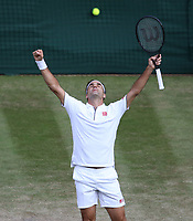 Roger Federer (SUI) celebrates after winning his match against Rafael Nadal (ESP) in their Gentleman's Singles Semi-Final match<br /> <br /> Photographer Rob Newell/CameraSport<br /> <br /> Wimbledon Lawn Tennis Championships - Day 11 - Friday 12th July 2019 -  All England Lawn Tennis and Croquet Club - Wimbledon - London - England<br /> <br /> World Copyright © 2019 CameraSport. All rights reserved. 43 Linden Ave. Countesthorpe. Leicester. England. LE8 5PG - Tel: +44 (0) 116 277 4147 - admin@camerasport.com - www.camerasport.com