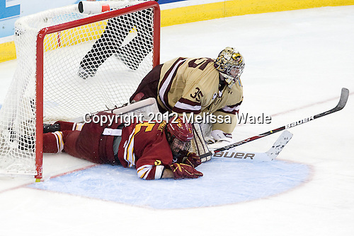 Aaron Schmit (FSU - 5), Parker Milner (BC - 35) - The Boston College Eagles defeated the Ferris State University Bulldogs 4-1 (EN) in the 2012 Frozen Four final to win the national championship on Saturday, April 7, 2012, at the Tampa Bay Times Forum in Tampa, Florida.