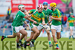 Jack Goulding and Anthony O'Carroll Ballyduff in action against Jeremy McKenna Lixnaw in the Senior County Hurling Final in Austin Stack Park on Sunday