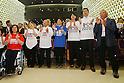 (L to R) Wakako Tsuchida, Hiromi Miyake, Yoshiyuki Miyake, Saori Yoshida, Ai Shibata, Junichi Miyashita, Yuichiro Miura, SEPTEMBER 8, 2013 : Supporters of Tokyo bid team celebrate after Tokyo won the bid to host the 2020 Summer Olympic and Games at The Tokyo Chamber of Commerce and Industry hall (Tosho Hall), Tokyo Japan on Sunday September 8, 2013. (Photo by Yusuke Nakanishi/AFLO SPORT) [1090]