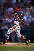 Aberdeen IronBirds designated hitter Alexis Torres (35) follows through on a swing during a game against the Tri-City ValleyCats on August 27, 2018 at Joseph L. Bruno Stadium in Troy, New York.  Aberdeen defeated Tri-City 11-5.  (Mike Janes/Four Seam Images)
