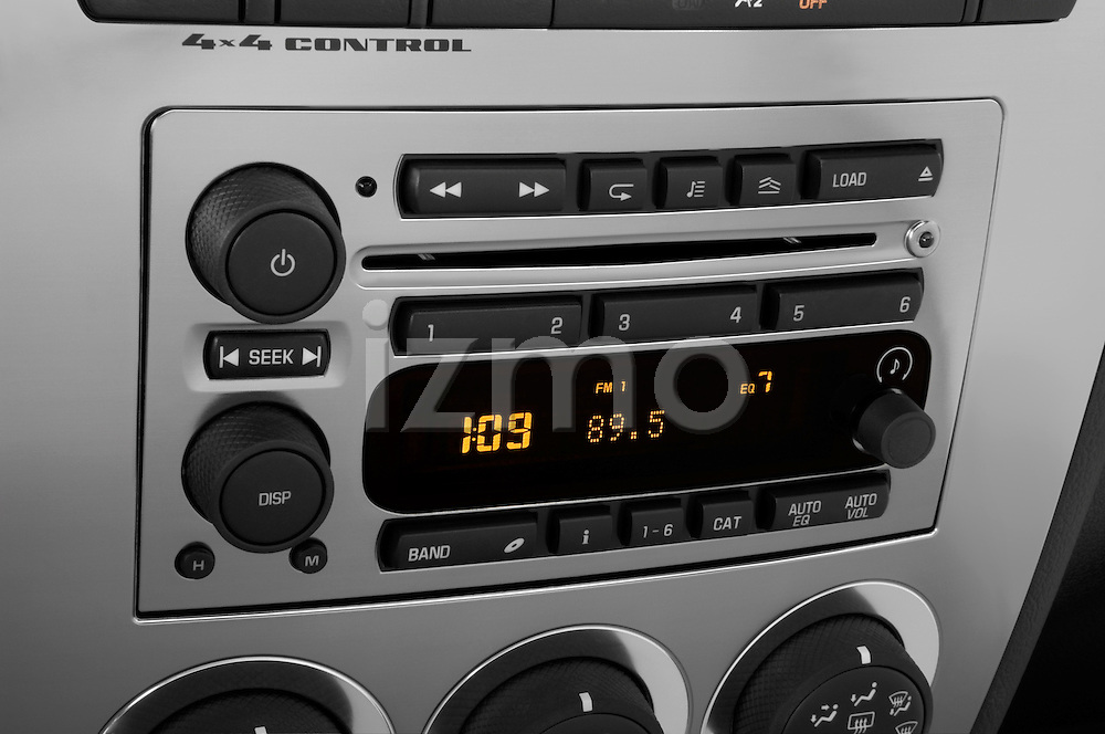 Stereo audio system close up detail view of a 2008 Hummer H3 Alpha SUV