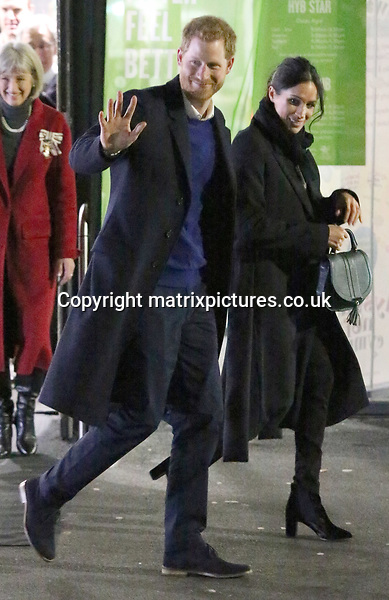 NON EXCLUSIVE PICTURE: TREVOR ADAMS / MATRIXPICTURES.CO.UK<br /> PLEASE CREDIT ALL USES<br /> <br /> WORLD RIGHTS<br /> <br /> Prince Harry and Ms. Meghan Markle are pictured at Star Hub, a community and leisure centre in the Tremorfa area of Cardiff, Wales, to see how sport is being used to engage young people and aid social development.<br /> <br /> During their visit, they will see how StreetGames, a delivery partner of Sport Wales and the Welsh Government, and an organisation with which Prince Harry has worked previously, is helping to make sport accessible to all young people, regardless of their social circumstances. It does this by supporting and establishing over 1,000 locally trusted organisations around the UK to deliver doorstep sport. Doorstep sport sessions operate in disadvantaged communities and include positive activities and sport for young people when they want it, where they want it and how they want it.<br /> <br /> Prince Harry and Ms. Markle will meet young people taking part in various doorstep sessions, including street dance and table tennis. They will also meet young women who are taking part in the UsGirls project, set up with the aim of driving a step change in female sport participation across the UK and addressing the barriers that prevent many girls and young women from taking part in sport and physical activity. To date it has mobilised 5,000 girls and young women across Wales.<br /> <br /> JANUARY 18th 2018<br /> <br /> REF: MTX 1876