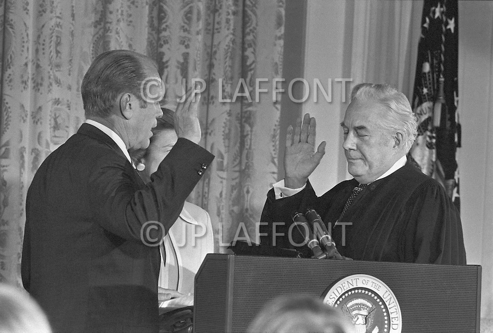 Gerald Ford takes the oath for the President of the United States August 9, 1974 in Washington.  - A break in at the Democratic National Committee headquarters at the Watergate complex on June 17, 1972 results in one of the biggest political scandals the US government has ever seen.  Effects of the scandal ultimately led to the resignation of  President Richard Nixon, on August 9, 1974, the first and only resignation of any U.S. President.