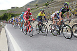 The peloton including race leader Yellow Jersey Nairo Quintana (COL) Movistar Team in action during Stage 4 of the 2016 Tour de Romandie, running 173.2km from Conthey to Villars, Switzerland. 30th April 2016.<br /> Picture: Heinz Zwicky | Newsfile<br /> <br /> <br /> All photos usage must carry mandatory copyright credit (© Newsfile | Heinz Zwicky)