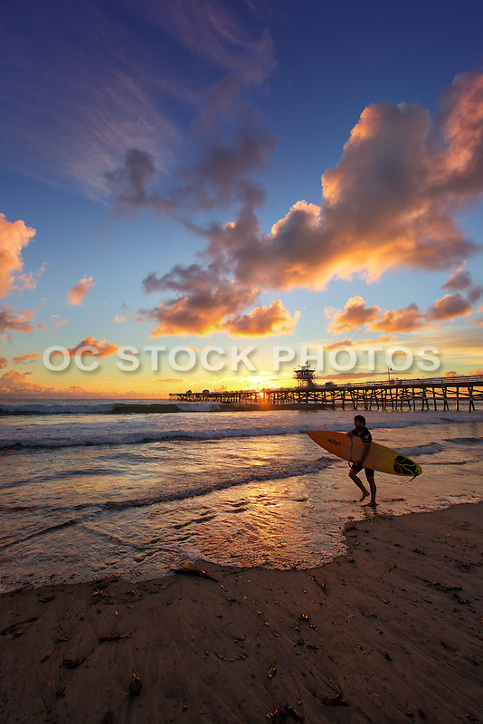 San Clemente Surfer on the Beach at Sunset