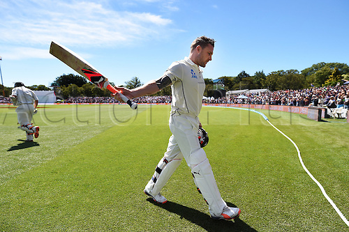 20.02.2016. Christchurch, New Zealand.  Brendon McCullum acknowledges the crowd after hitting a world record test century. New Zealand Black Caps versus Australia. Day 1, 2nd test match, Hagley Oval in Christchurch, New Zealand. Saturday 20 February 2016.