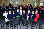 St Brendans College students celebrate after their projects' won at the BT Young Scientist of the year competition l-r: Marian O'Gorman, Colm Looney, Darragh Fleming, Ethan O'Neill, Sean Coffey Principal, Harry and James Knoblauch, Oran O'Donoghue and Marie Vaughan