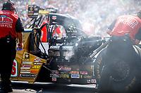 Aug 19, 2017; Brainerd, MN, USA; NHRA top fuel driver Leah Pritchett during qualifying for the Lucas Oil Nationals at Brainerd International Raceway. Mandatory Credit: Mark J. Rebilas-USA TODAY Sports