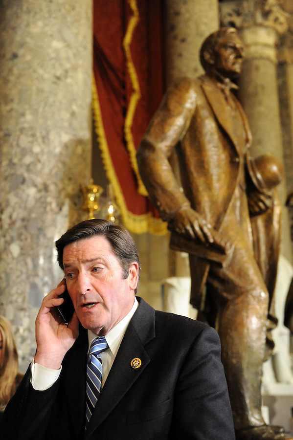 John Garamendi (D-CA) does a phone interview in Statuary Hall before the State of the Union address on Wed. Jan. 27, 2010. (Amanda Lucidon)
