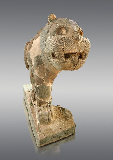 Pictures & images of the South Gate Hittite sculpture statue of a Lion. 8th century BC. Karatepe Aslantas Open-Air Museum (Karatepe-Aslantaş Açık Hava Müzesi), Osmaniye Province, Turkey.  Against grey background