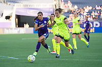Orlando, Florida - Sunday, May 8, 2016: Orlando Pride forward Alex Morgan (13) beats Seattle Reign FC defender Rachel Corsie (4) inside the box during a National Women's Soccer League match between Orlando Pride and Seattle Reign FC at Camping World Stadium.