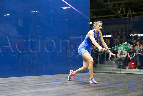 13.02.2016. National Squash Centre, Manchester, England. British National Squash Championships. Laura Massaro returns to Tesni Evans in their semi final match.
