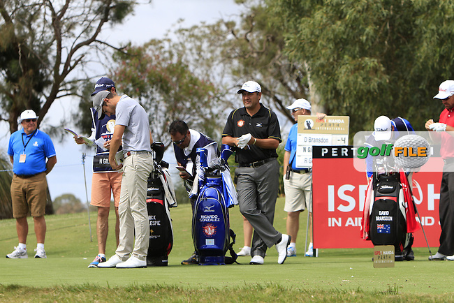 Ricardo Gonzalez (ARG) on the 12th tee during Round 3 of the ISPS HANDA Perth International at the Lake Karrinyup Country Club on Saturday 25th October 2014.<br /> Picture:  Thos Caffrey / www.golffile.ie