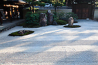 """To the south of the hojo at Kenninji Temple there is a dry or karesansui garden named """"Daioen"""" which means grand garden. It is said that the pattern of white gravel symbolizes a field of clouds.  This effect is helped by the waves and ripples in the gravel which give this effect."""