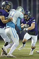 NWA Democrat-Gazette/CHARLIE KAIJO Fayetteville High School running back Nate Nolen (3) runs the ball during a playoff football game on Friday, November 10, 2017 at Fayetteville High School in Fayetteville.