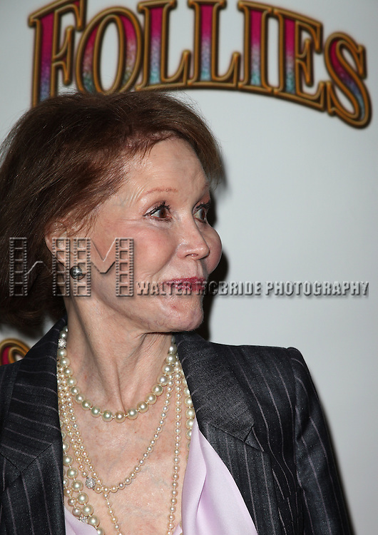 Mary Tyler Moore.attending the Broadway Opening Night Performance of 'Follies' at the Marquis Theatre in New York City,