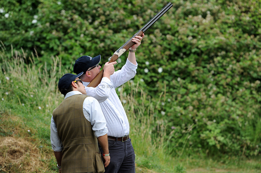 Photo: Richard Lane/Richard Lane Photography. London Wasps summer clay pidgeon shoot at E L Churchill Shooting Grounds, West Wycombe. 07/07/2010. Shooting.