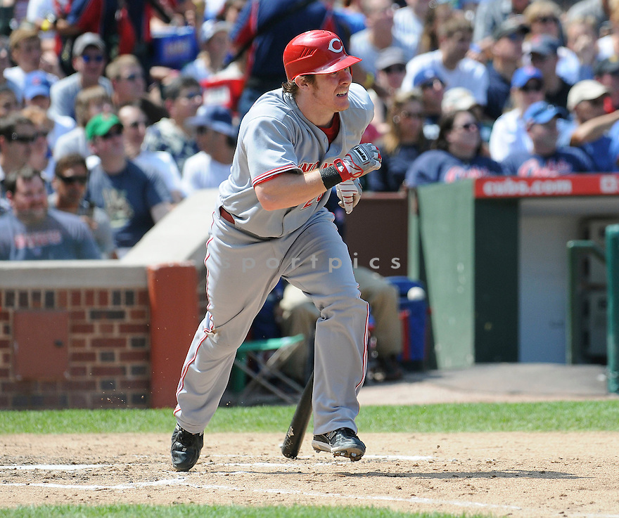 RYAN HANIGAN, of the Cincinnati Reds, in action during the Reds  game against the Chicago Cubs at Wrigley Field in Chicago, IL on August 6, 2010.  The Reds won the game 4-3.