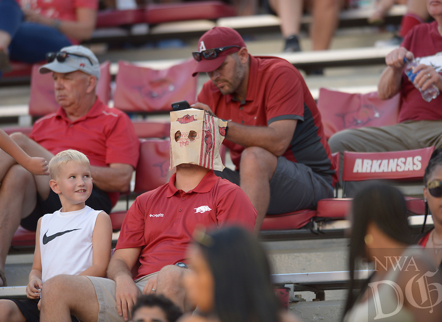 NWA Democrat-Gazette/ANDY SHUPE<br /> Arkansas fans react during the Hogs' 44-17 loss to North Texas Saturday, Sept. 15, 2018, during the fourth quarter at Razorback Stadium in Fayetteville. Visit nwadg.com/photos to see more photographs from the game.