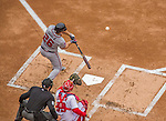 4 April 2014: Atlanta Braves second baseman Dan Uggla connects for a single during the second inning of the Washington Nationals Home Opening Game at Nationals Park in Washington, DC. The Braves edged out the Nationals 2-1 in their first meeting of the 2014 MLB season. Mandatory Credit: Ed Wolfstein Photo *** RAW (NEF) Image File Available ***