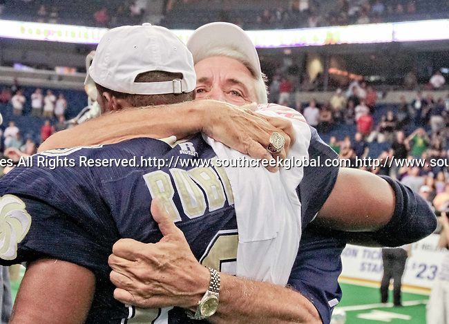 Aug 14, 2010: Tampa Bay Storm head coach Tim Marcum enjoys a victory with wide receiver DeAndrew Rubin. The Storm defeated the Predators 63-62 to win the division title at the St. Petersburg Times Forum in Tampa, Florida. (Mandatory Credit:  Margaret Bowles)