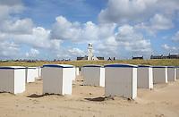 Nederland Katwijk  2016.  Cabines voor de strandstoelen op het strand.   Foto Berlinda van Dam / Hollandse Hoogte