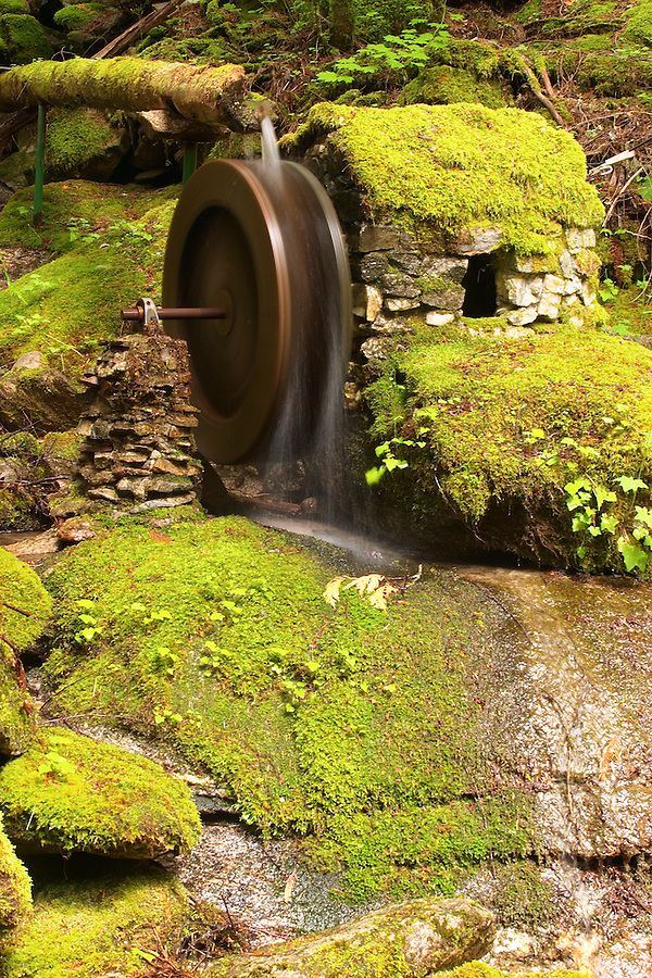 Model water wheel power house, Ladder Creek Falls Trail, Newhalem, Seattle City Light Company, Ross Lake National Recreation Area, Whatcom County, Washington, USA