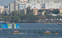 Rio de Janeiro. BRAZIL.  Left.  GBR LM4-. Bow, Chris BARTLEY, Mark ALDRED, Jonno CLEGG and Peter CHAMBERS, approaching the 500 meter marker during their heat at the 2016 Olympic Rowing Regatta. Lagoa Stadium,<br /> Copacabana,  &ldquo;Olympic Summer Games&rdquo;<br /> Rodrigo de Freitas Lagoon, Lagoa. Local    Saturday  06/08/2016 <br /> <br /> [Mandatory Credit; Peter SPURRIER/Intersport Images]