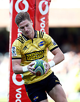 Jordie Barrett of the Hurricanes scores during the Super Rugby match between Cell C Sharks and Hurricanes at Jonsson Kings Park Stadium in Durban, South Africa on Saturday, 1 June 2019. Photo by Steve Haag / stevehaagsports.com