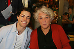 "General Hospital Tyne Daly ""Caroline Beale"" poses with Corey Cott (lead in Bway's Newsies at The 26th Annual Broadway Flea Market and Grand Auction to benefit Broadway Cares/Equity Fights Aids on September 23, 2012 in Shubert Alley and Times Square, New York City, New York.  (Photo by Sue Coflin/Max Photos)"