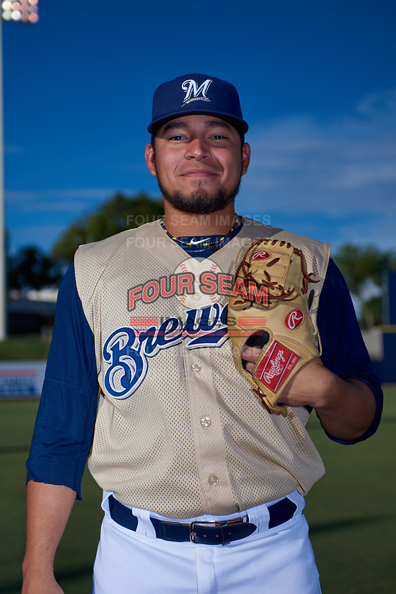 AZL Brewers Gold Jose Parra (51) poses for a photo before an Arizona League game against the AZL Brewers Blue on July 13, 2019 at American Family Fields of Phoenix in Phoenix, Arizona. The AZL Brewers Blue defeated the AZL Brewers Gold 6-0. (Zachary Lucy/Four Seam Images)