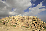 Ruins of the Hasmonean fortress Alexandrion (Alexandrium) on the Horn of Sartaba overlooking the Jordan Valley