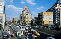 EGYPT Cairo, traffic at Ramses street in front of Ramses railway station / Aegypten Kairo, Verkehr auf der Ramses Strasse vor dem Ramses Bahnhof