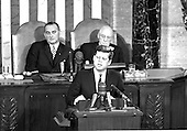 "United States President John F. Kennedy outlined his vision for manned exploration of space to a Joint Session of the United States Congress, in Washington, DC on May 25, 1961 when he declared, ""...I believe this nation should commit itself to achieving the goal, before this decade is out, of landing a man on the Moon and returning him safely to the Earth."" This goal was achieved when astronaut Neil A. Armstrong became the first human to set foot upon the Moon at 10:56 p.m. EDT, July 20, 1969.  Shown in the background ar US Vice President Lyndon B. Johnson, left, and  Speaker of the House Sam T. Rayburn (Democrat of Texas), right. <br /> Credit: Arnie Sachs / CNP"